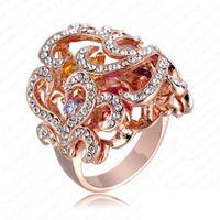 Big Flower Ring 18K Rose Gold Plate Austrian Crystals Women ...