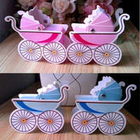 Wholesale Baby Carriage Favour Baby Shower Favor Gift Boxes in Blue Pink for Baby Party Stuff Supplies