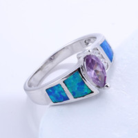 Band Rings Women's Party Opal New fashion Topaz zirconia diamond ring sterling silver jewelry wedding 925 silver Rings for womenSize 7 8 9 #BT0124