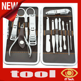 Wholesale OP HOT set Stainless steel Nail Clipper Kit Nail Care Set Pedicure Scissor Tweezer Knife Ear pick Utility Manicure Set Tool