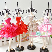 Wholesale Crystal Bow Tie Short Dress Doll Displays Rack cm Tall Earring Necklace Vintage Jewelry Holder Stand Fashion Mannequin