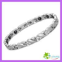 Wholesale 2014 New Famous Brand Women Health Care Magnetic Bracelet Energy Band Balance Hologram Bangles Titanium Steel Jewerlry