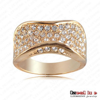 With Side Stones Bohemian Women's Wholesale Jewelry Fashion Punk-Pop Engagement Rings With 18K Gold Plated & Pave Austrian Crystal Ring Charm Jewelry Ri-HQ0142