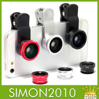Wholesale 3 in Wide Angle Macro Lens Fish Eye periscope lens len of Digital Camera multi effect For iPhone For Samsung For All mobile phone