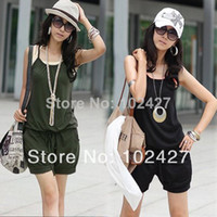 Acetate Loose Pocket 2014 Women Fashion Sexy Sleeveless Romper Strap Short Jumpsuit Casual Jump Suit Pants Fast Shipping