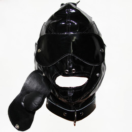 Wholesale Slave Bright Muzzles Leather Hoods Mask Removable Mouth Gag Goggles Fetish Fantasy Sex Product For Adult Head Restraints BDSM Bondage