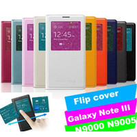 Wholesale For Galaxy Note Note3 case leather Note III N9000 N9006 N9005 N900 N900T Smart Window Sleep Leather Cover P140806