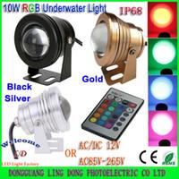 al por mayor 12v focos led bajo el agua-10W luz subacuática LED DC12V o 85-265V caliente / fresco blanco / RGB LED focos impermeable IP68 luz de inundación faros antiniebla faro (Min. 5pcs
