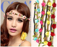 Cheap Fashion Bride Bohemian Flower Headband Festival Wedding Floral Garland Hair Band Headwear Hair Accessories for Women 60pcs lot SZ0154
