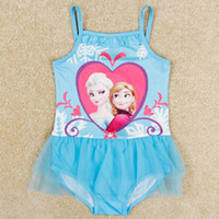 Wholesale Qmilch fabric frozen girls swimwear elsa anna printed girl tank top tutu skirts with tulle kids beach wear clothing girl bath suit