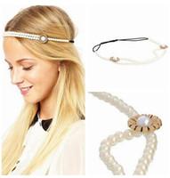Wholesale Bohemia Women s Headband Tiaras Pearl Crown Chain Hairband Head Band Headband Hair Jewelry