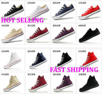 Lace-Up Unisex Spring and Fall 2014 Drop Shipping size35-45 New Unisex Low-Top & High-Top Adult Women's Men's Canvas Shoes 13 colors Laced Up Casual Shoes Sneaker shoes