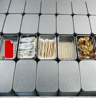 Wholesale 10Pcs Silver Rectangle Iron Tin Storage Box Trinket Candy Jewelry Case Pill Box Metal Tea Click Cans Tools Free Ship Storage Boxes Bins