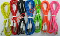 Wholesale mm Braided Fabric Audio AUX Cable M FT Colorful mm Male to Male for iPhone G S S C S Samsung Galaxy S5 S4 i9
