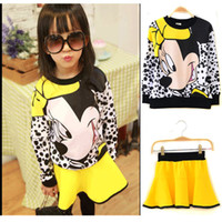 Wholesale Retail set Children Clothing Sets Cartoon Minnie Mouse SportsSuit Costume Outfit Girl Kids Pullover Skirt Yellow B263