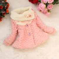 Jackets Girl Spring / Autumn Retail Baby girls Casual coat Winter new 2014 manteau kids lace jacket children outerwear fur coat Pink free shipping C142