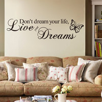 Wholesale Word Live Your Dream Butterfly Quote Room Decor Art Removable Decal Wall Sticker