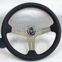 Wholesale 14inch Nardi Leather Steering Wheel Red Stitch Titanium Frame mm Nardi Steering Wheel Drifting Rally Steerin Wheel