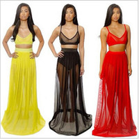 Casual Dresses Summer V-Neck Celeb women mesh bralets tank crop top skirt 2 two-piece set bandage bodycon dress birthday party clubwear celebrity outfit prom cocktail
