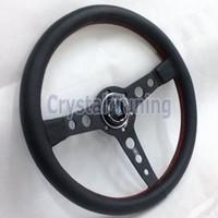 Wholesale 350mm Nardi Steering Wheel Leather Steering Wheel Nardi mm Drifting Rally Steering Wheel Red Stitching Black Frame