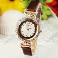 Wholesale Holiday sale colors Luxury Brown Leather Shinning Crystal fashion Women Dress crystal Watch ladies Go002