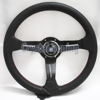 Wholesale 13inch Deep Dish Nardi Steering Wheel Leather Steering Wheel Nardi mm Racing Drifting Car Steering Wheel Red Stitch