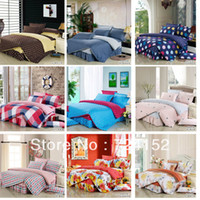 100% Cotton Hotal Adults Free shipping coffee Brand logo printed floral 100%cotton Bed linen Bed sheet set Bedding set Buvet cover set 1.2 1.5 1.8m 4PCS