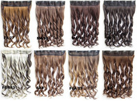 Wholesale HOT clip in synthetic hair extension hairpieces clips in on wavy slice hairpiece cm grams colors available pc