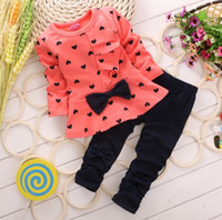 Girl Spring / Autumn Long Wholesale-Spring autumn winter girl popular top+pant set 2 pieces children bowknot clothes suit 100% cotton children clothes 4s l
