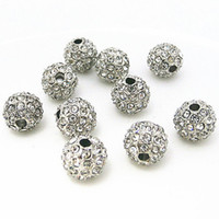 Circle loose shamballa beads - Silver MM Crystal Pave Disco Ball Rhinestone Bead Loose Spacer for Shamballa Bracelet Jewelry Findings
