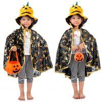 0-12M Cloth Creepy Square Creepy Halloween costumes Children's Square hardcover gold shawl cloak pumpkin lantern pumpkin bucket hat pumpkin