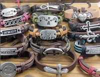 Link, Chain Wax cord Genuine Leather  2014 new Free shipping! 60 styles Mens Leather Wrap Bracelet Jewelry Genuine Handmade Alloy Charms Bracelets Wristbands Designs Mix