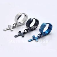 Wholesale Fashion Jewelry color Stainless Titanium Steel Cirle Simple Cross Men s Hoop Earrings