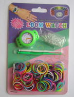 Cheap Newest DIY Knitting Braided loom Watch Rainbow Loom Rubber Bands Kits Silicone Watch Bracelet DIY Loom Watch Bands Clips Hook 1200 lot 390