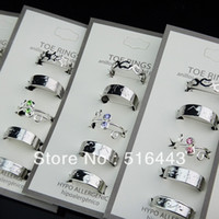 Wholesale OP Mix Style Czech Rhinestones Fashion Womens Toe Rings Adjustable Jewelry A