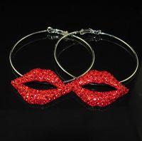 Wholesale Sexy Red Rhinestone Lip Earring Red Lip Hoop Earring Party Earring
