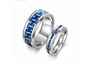 Wholesale NEW Arrivel Fashion Tungsten Steel Ring Blue Carbon Fiber for Lover Couple Jewelry WJ185