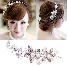 In Stock !! Fashion Wedding Bridal Hair Jewelry Fancy Pearl Flower Sparkly Crystal Hair Accessories Bridal Jewelry