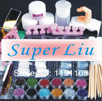 Wholesale OP new Acrylic Powder fine Glitter sanding File Brush Rhinestones Tweezer cutter UV acrylic Art Set Kit