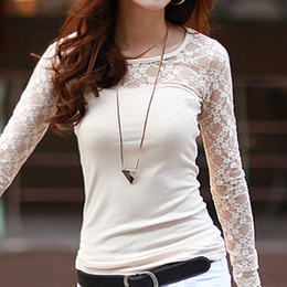 Wholesale All match Slim Women Lace Spanelled T shirts Solid Cotton T Shirt Sheer Long Sleeve Basic Blouse Tops Brand New
