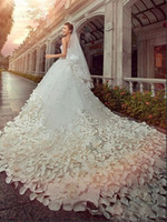 classic wedding dress - 2015 Hot New Luxury Classic Wedding Dresses Church Bridal Gowns With Ball Gown Crystals Beads Backless Handmade Flowers Chapel Train