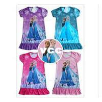 Wholesale 2104 Frozen Princesses Elsa Anna Dora Doc McStuffins Olaf Sofia Tinkerbell party night home dress Children clothes