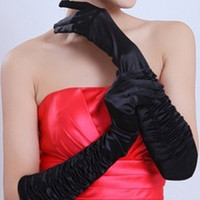 Wholesale 2014 Fashion Satin Evening Gloves for Wedding Party Prom Opera Halloween Stretch Long Gloves Fedex