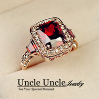 Wholesale 18K Rose Gold Plated Austrian Red Ruby Gemstone Rectangle Crystal Luxury Wedding Lady Finger Ring