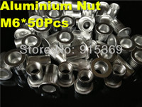 Wholesale 50pcs M6 Flat Head Aluminum Rivet Nut inser nut blind insert china wholesales prices relaible quality Cheap Price