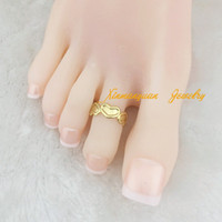 b jewelry piece - OP pieces gold plated fashion body jewelry heart linked toe rings for women x5 b