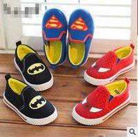 batman board - Superman Batman Spiderman Classic Sale Children Kid Cotton Canvas Shoes Boys Girls Causal Walking Board Shoe Slip On Flats for T K0611