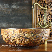 Wholesale Europe type restoring ancient ways is carved ceramic art basin lavatory basin stage basin lotus pond