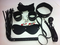 Wrist & Ankle Cuffs Unisex  SM bound sexy leather 7-piece outfit Set Bondage Body Harness Adult Alternative Toy Stimulate
