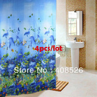 Wholesale 4Pcs New x Bathroom Ocean Sea Life Waterproof Fabric Shower Curtain With x Hook TK0761